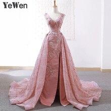 YeWen princesse dentelle fleur longue robes de soirée 2020 liban fête noël dentelle bal robe formelle femmes élégant robe rose
