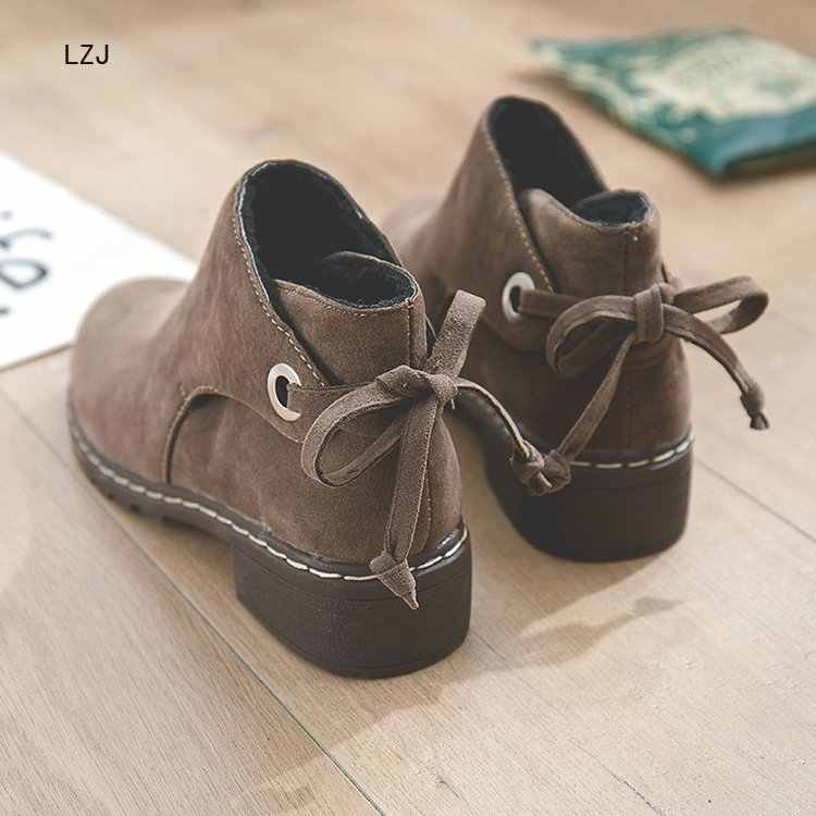 LZJ Mùa Đông 2019 Giày Nữ Mắt Cá Chân Giày Bốt Thời Trang Giày Mũi Tròn cột dây Nữ Phẳng Giày Da Lộn Thời Trang Hoang Dã giày Bốt Martin