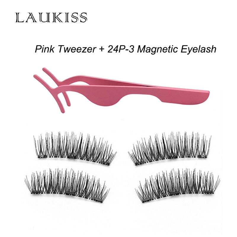 New Magnetic Eyelashes With 3 Magnets Natural False Eyelashes On The Magnet 24P-3 Lash Tweezer Stainless Steel Lashes LAUKISS