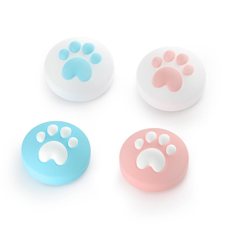 4pcs Cute Cat Paw Claw Thumb Stick Grip Cap Joystick Cover For Nintend Switch Lite NS Joy-Con Controller Gamepad Thumbstick Case(China)