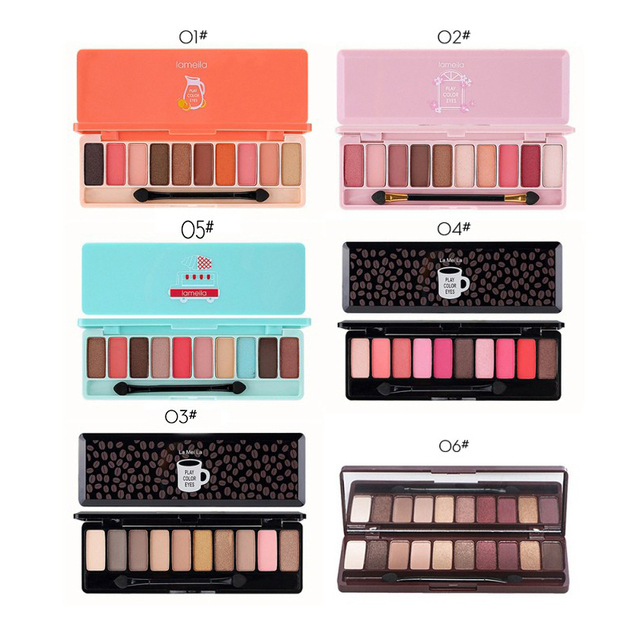 10 Color Nude Shining Eyeshadow Palette Glamorous Waterproof Not Blooming Cherry Eye Shadow Shimmer Glitter Makeup TSLM1 4