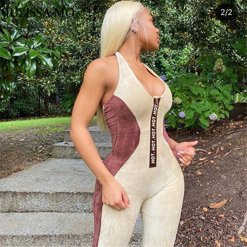 JULISSA MO Halter Backless Pink Jumpsuit Sexy Romper Women Hot Letter Zipper Jumpsuits Velvet Patchwork Bodycon Sporty Overalls