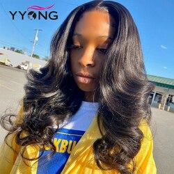 YYONG 13x4 i 13x6 koronki przodu włosów ludzkich peruk dla czarnych kobiet brazylijski Remy ciało fala peruki typu Lace Front Preplucked 10-18 cal