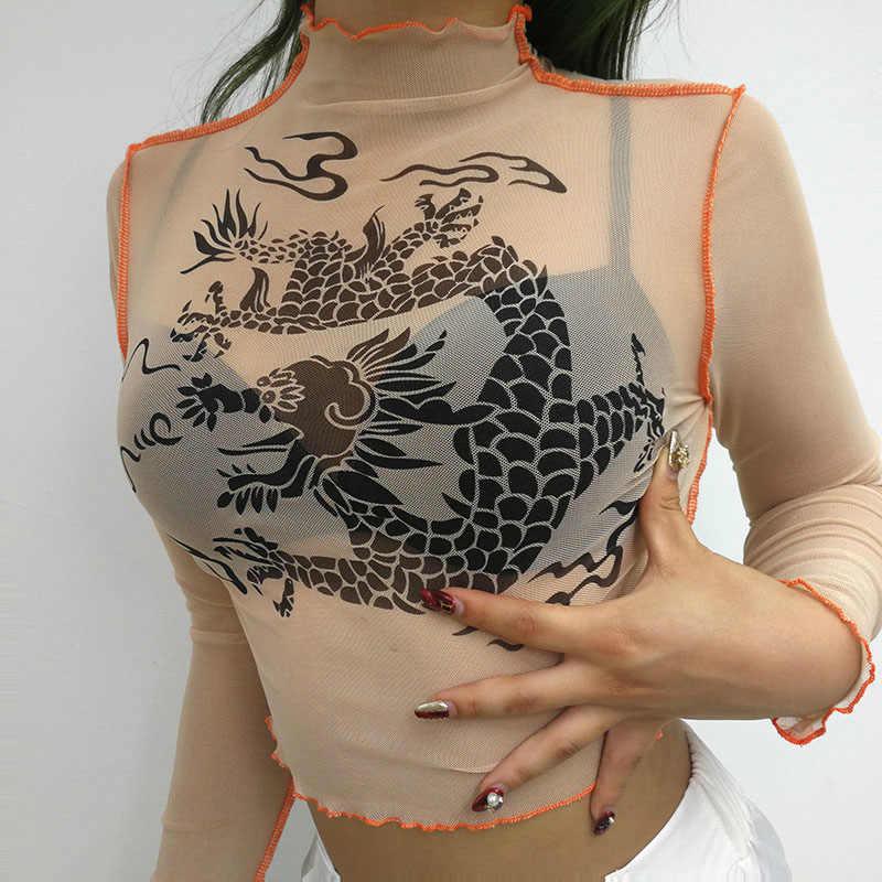 Harajuku malha colheita topo manga longa t camisa das mulheres kawaii dragão gráfico t sexy ver através de gola alta tshirt verão