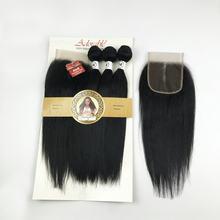 Mèches synthétiques mixtes avec fermeture en dentelle 4*4, tissage en soie lisse en paquet, cheveux naturels adorables 3 + 1