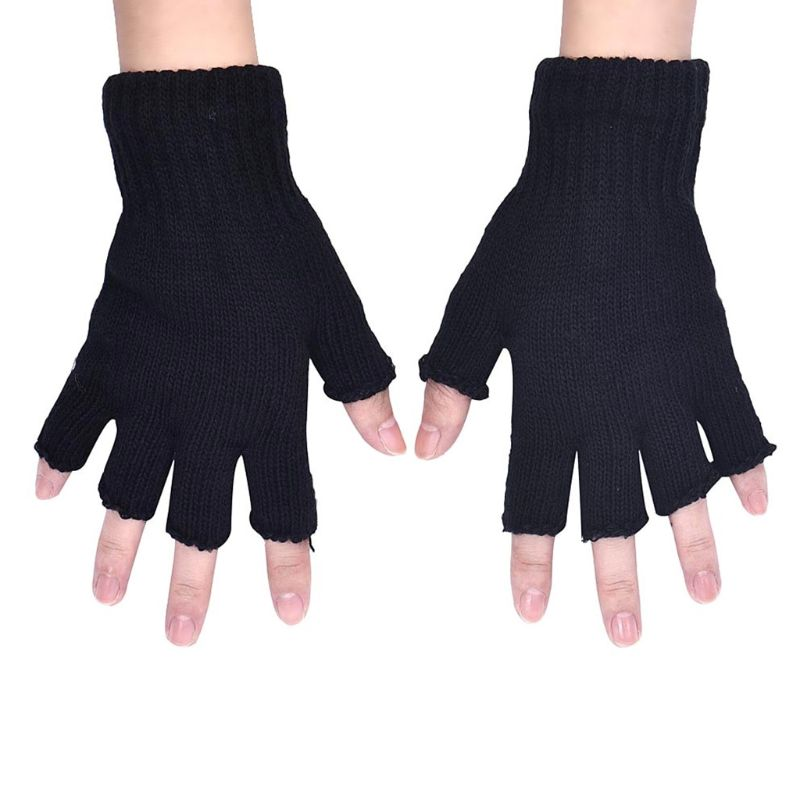 Women Men Unisex Black Half Finger Gloves Ribbed Knit Stretch Fingerless Mittens A69C