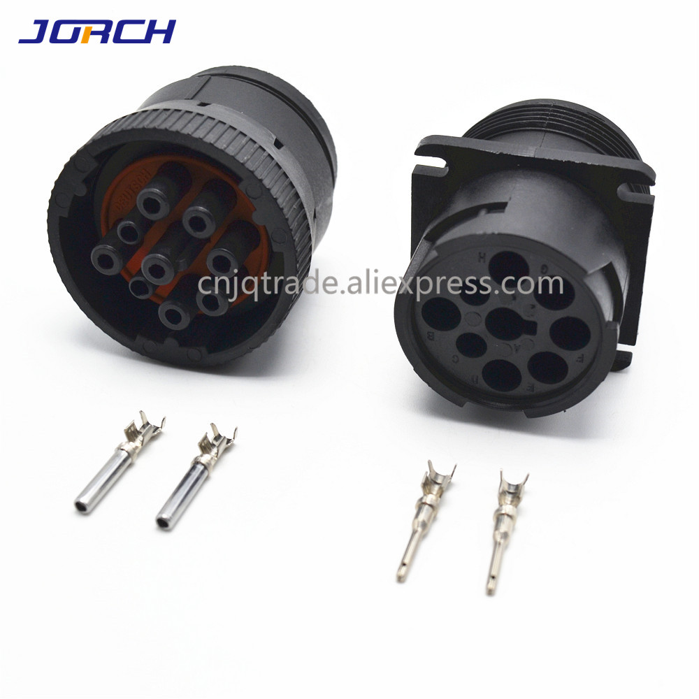 1set 9 Pin  HD16-9-1939S HD10-9-1939P Deutsch  Black  Circular Aviation Female Male Connector   For Track J1939