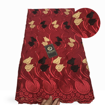 SUNNY African Red  Lace Fabric 100% Cotton Swiss Voile Lace 5 Yards/Piece Embroidered Nigerian Lace Fabric For Wedding dresses
