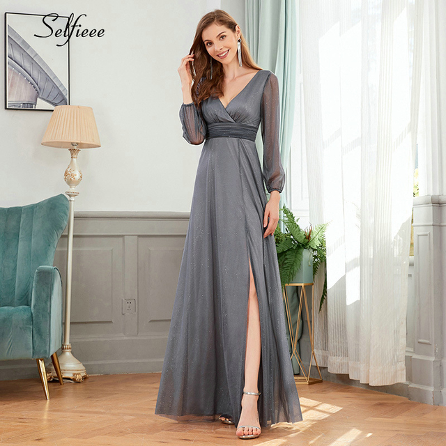 Sexy Maxi Dress A-Line V-Neck Long Sleeve Side Split Ruched Sparkle Formal Party Dress Women Fashion Dress Long Ropa Mujer 2020 2