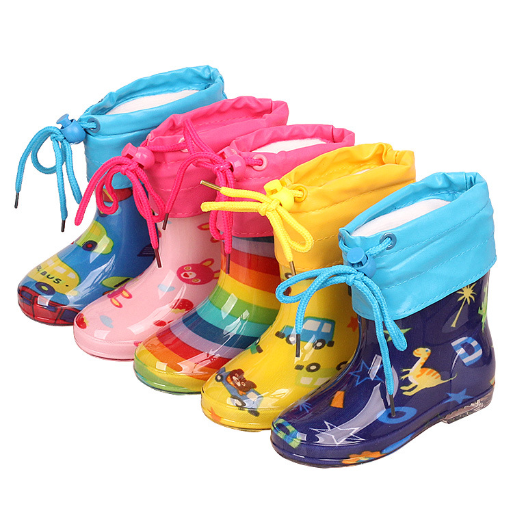 Unisex Rainbow Children's Kindergarten Non Slip PVC Mid Barrel Boys And Girls' Rain Shoes With Plush Warm Kids Rain Boots Kids