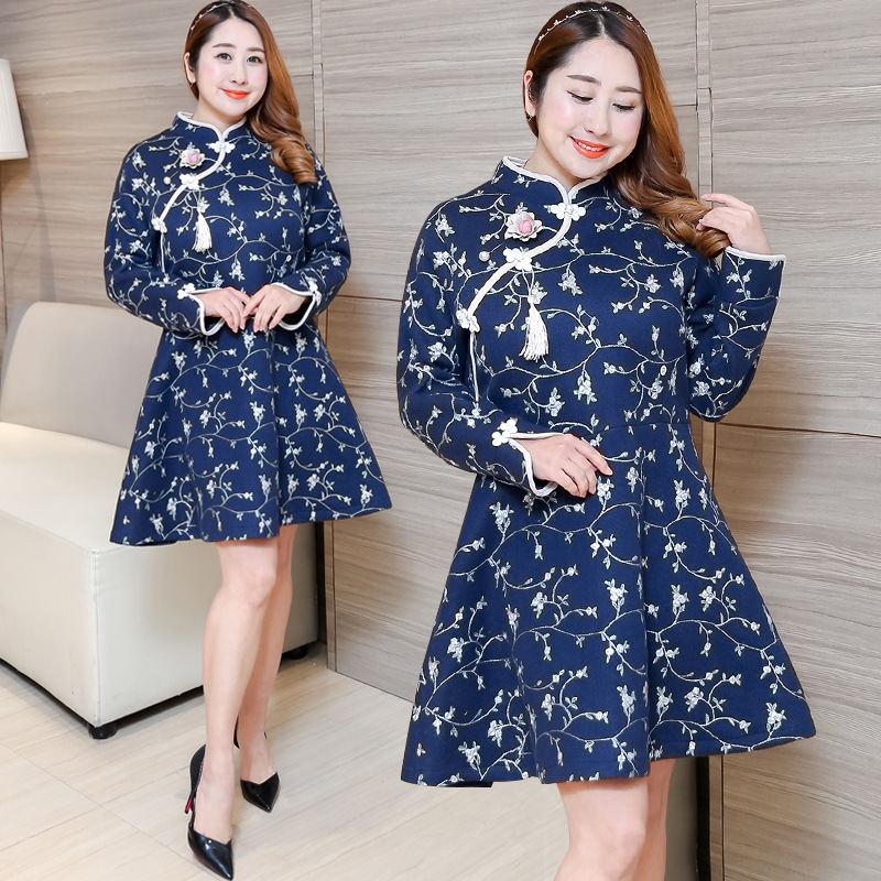 [Xuan Chen] 2018 Winter New Products Plus-sized Large Size Dress Improved Edition Cheongsam Fat Mm Dress 0436