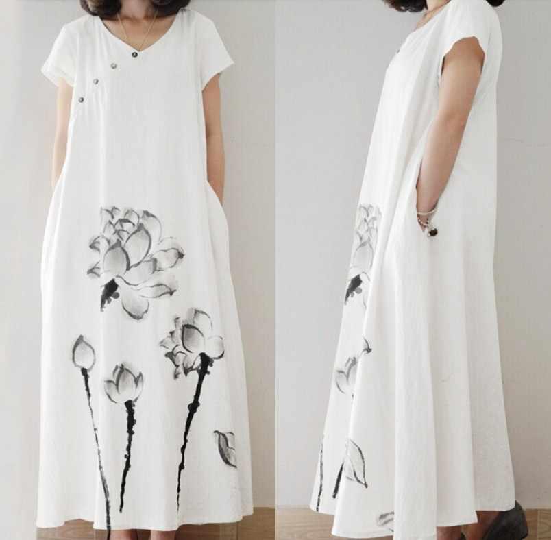 ฤดูร้อน Sundress ZANZEA ผู้หญิง V คอดอกไม้พิมพ์ผ้าฝ้ายผ้าลินินหลวม Vestido กระโปรงสั้นแขนสั้นชุด Kaftan