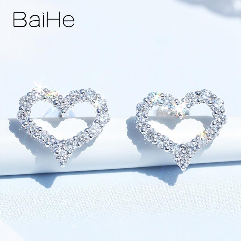BAIHE solide 14K or blanc Total 0.64ct H/SI rond naturel diamants femmes homme mariage diamant boucles d'oreilles cadeau coeur boucles d'oreilles