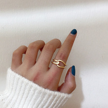 Double Layer Copper Tie Design Minimalist Open Rings Gold Silver Color Metal Geometric Finger Rings For Women Girl Party Jewelry