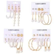 Fnio 2020 женская мода комплект жемчужных серег с большим круглым