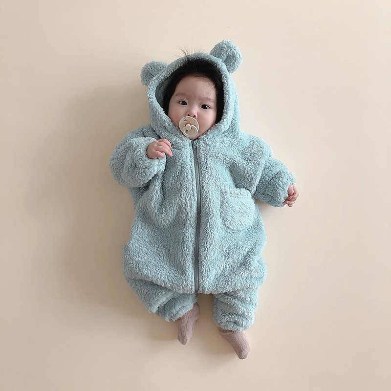 MILANCEL winter nieuwe baby rompertjes bear hood baby pak cartoon baby jongens jumpsuits baby outfit
