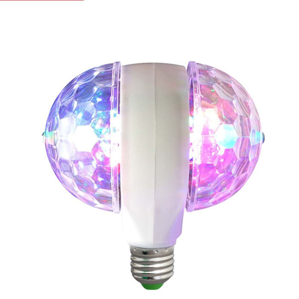 LED Lamp Double Balls Crystal Stage Light RGB 7W E27 Colorful Magic Ball Club DJ Disco Party KTV Home Effect Bulb Auto Rotating