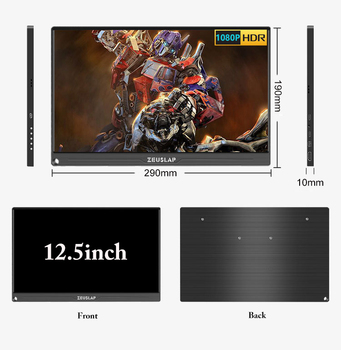 "12.5 ""13.3"" 15.6 ""TIPO C USB C HDMI DP 1080P 4K Tela de monitor portátil ultrafino para Switch, PS4, XBOX, laptop, telefone móvel 1"