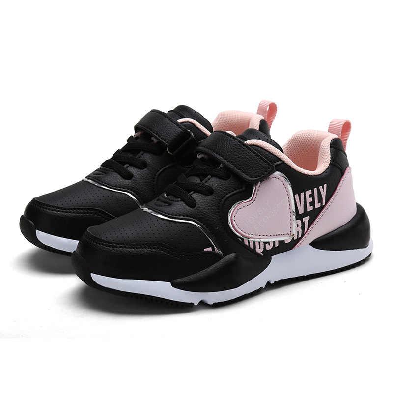 2019 สาวฤดูใบไม้ผลิสีขาวรองเท้าผ้าใบเด็กเล็กสบายๆโรงเรียนเทรนเนอร์เด็ก PU หนังเด็กสีดำรองเท้า