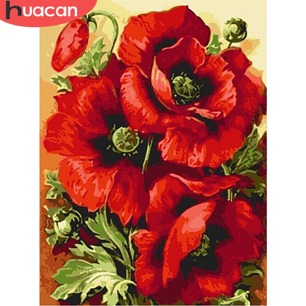 HUACAN Paint By Number Flowers DIY Oil Painting By Numbers Pictures Kits Drawing Canvas HandPainted Home Decor Gift