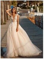 Из прозрачной ткани иллюзия Кружевной Топ Свадебные платья с аппликацией кружевными пышными фатиновое платье трапециевидной формы свадеб...