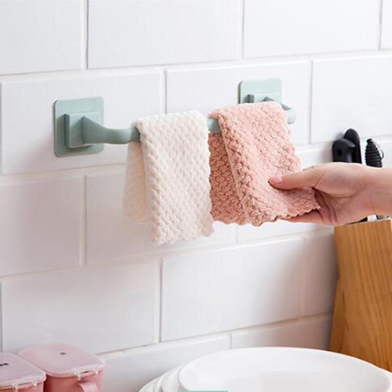 Самоклеящаяся вешалка для полотенец для ванной комнаты, пластиковая настенная вешалка для ванной, вешалка для полотенец, аксессуары для