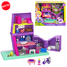 Original Polly Pocket Mini Little Store Box Girls Car Toys World Scene Toy Girl Gift Doll House Accessories Juguetes