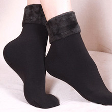 1 Pair Women Winter Warm Thicken Thermal Soft Casual Solid Color Socks Wool Cashmere Home Snow Boots Velvet Floor L*5