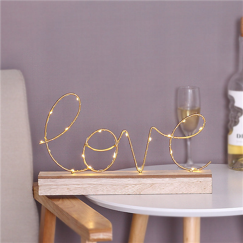 Home Decorative Figurines Ornaments LED Lamp Light LOVE Letters Living Room Bedroom Layout Decoration Valentine's Birthday Gift