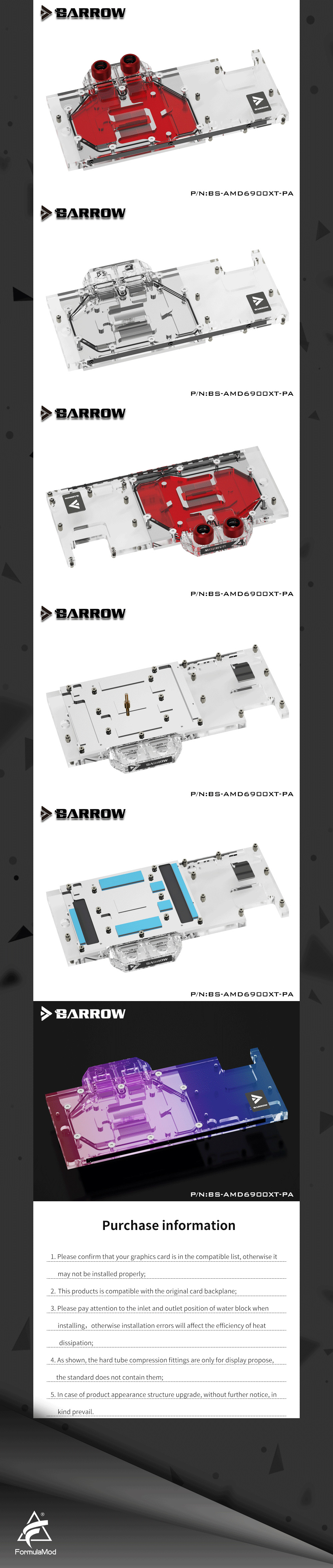 BARROW 6900 GPU Water Cooling Block, Full coverage For AMD Founder Edition MSI Sapphire RX 6900 6800 XT, BS-AMD6900XT-PA
