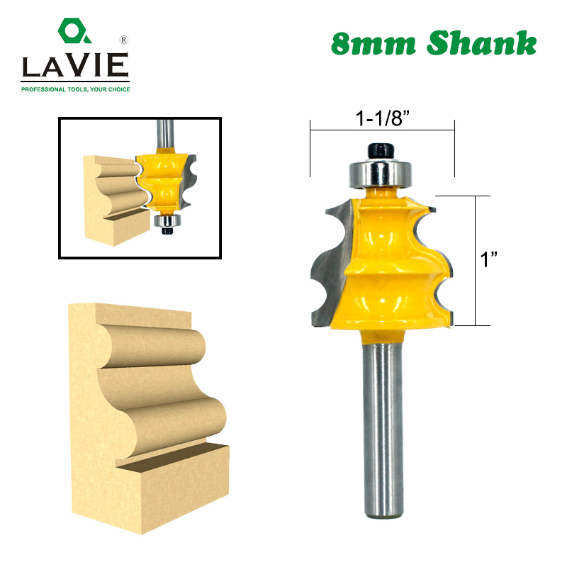 LAVIE 1pc 8mm Shank Line Router Bit Architectural Molding Woodworking Tenon Milling Cutter For Wood Machine Tools MC02079