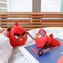 3D Funny Red Angry Cute Birds Cartoon For Apple Airpods2 Case Protective Cover Bluetooth Earphone Soft Silicone Headset Bag