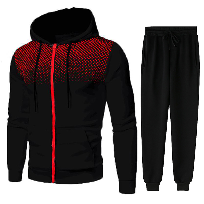 Men Gradient Zip Cardigan Suit Tracksuits Spring Autumn Hoodie Jogging Trousers Fitness Casual Clothing Sportswear Set Plus Size 4