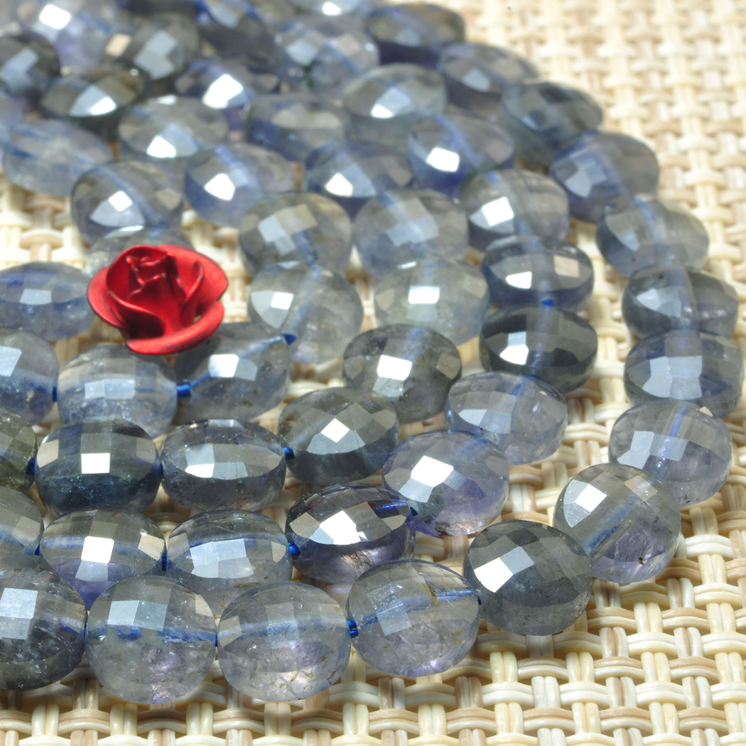 3-4MM 925 Sterling Silver Natural Iolite Faceted Beads Necklace Jewelry