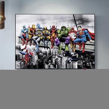 Superheroes Marvel DC United Canvas Poster 1