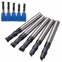 5pcs 2 Flute Solid Carbide End Mill 6mm CNC Slot Tungsten Coating Woodworking Milling Cutter Set