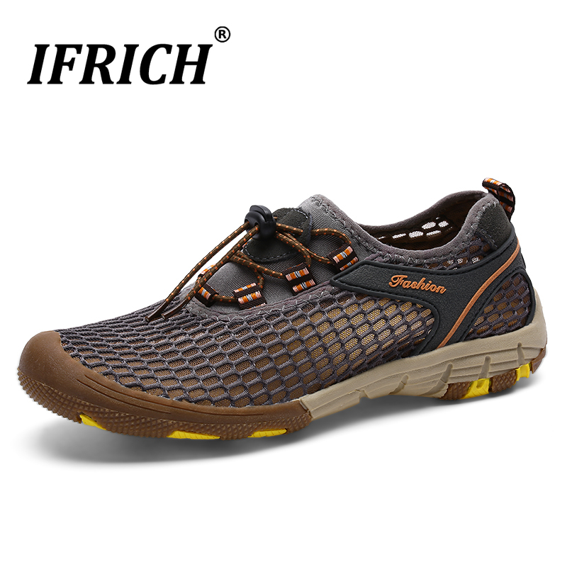 Mens Summer Water Aqua Shoes Mesh Hiking Shoes Breathable Mountain Trekking Climb Sneakers 2020 New Upstream Water Sport Shoes