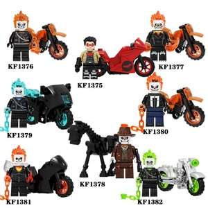 Ghost Rider With Motorcycle Building Block Red Hood Action Figures For Children Collection Toys KF6120