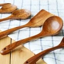 1 шт. натуральный Акация деревянная посуда ложка лопатка, Кулинария ложки мерная ложка, кухонная утварь длинные дуршлаг для риса суп скиммер набор