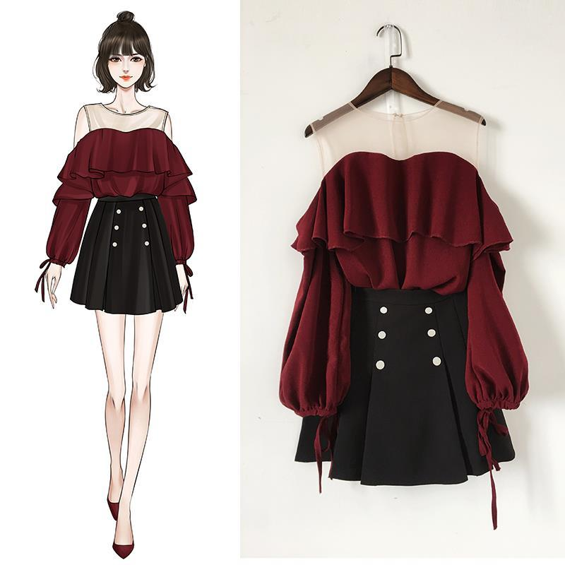 2020 Spring Autumn Women Knitted Pullover Sweater Tops +A Line Draped Solid Skirt Two Piece Sets Female Ruffles Casual Suit Y39