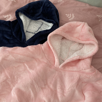 Winter Warm Comfy Hooded Pocket Blankets Adults Bathrobe Sofa TV Blanket Sweatshirt Solid Plush Coral Fleece Blankets Outwears 5