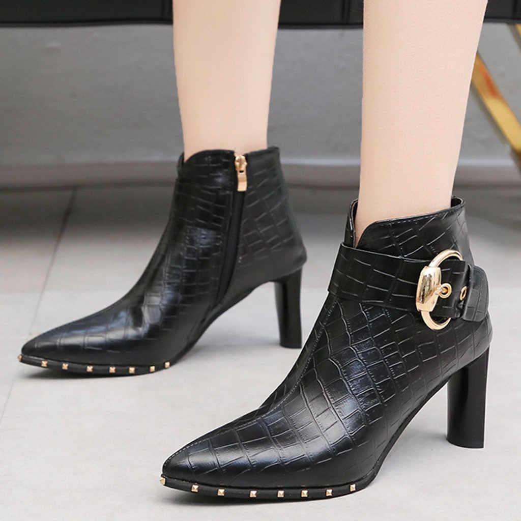 Herbst Stiefeletten Frauen Hohe Ferse Schuhe Kurze Röhre Boot Leder Zipper Solide Farbe Spitz Schuhe Frauen Schuhe Femme t3