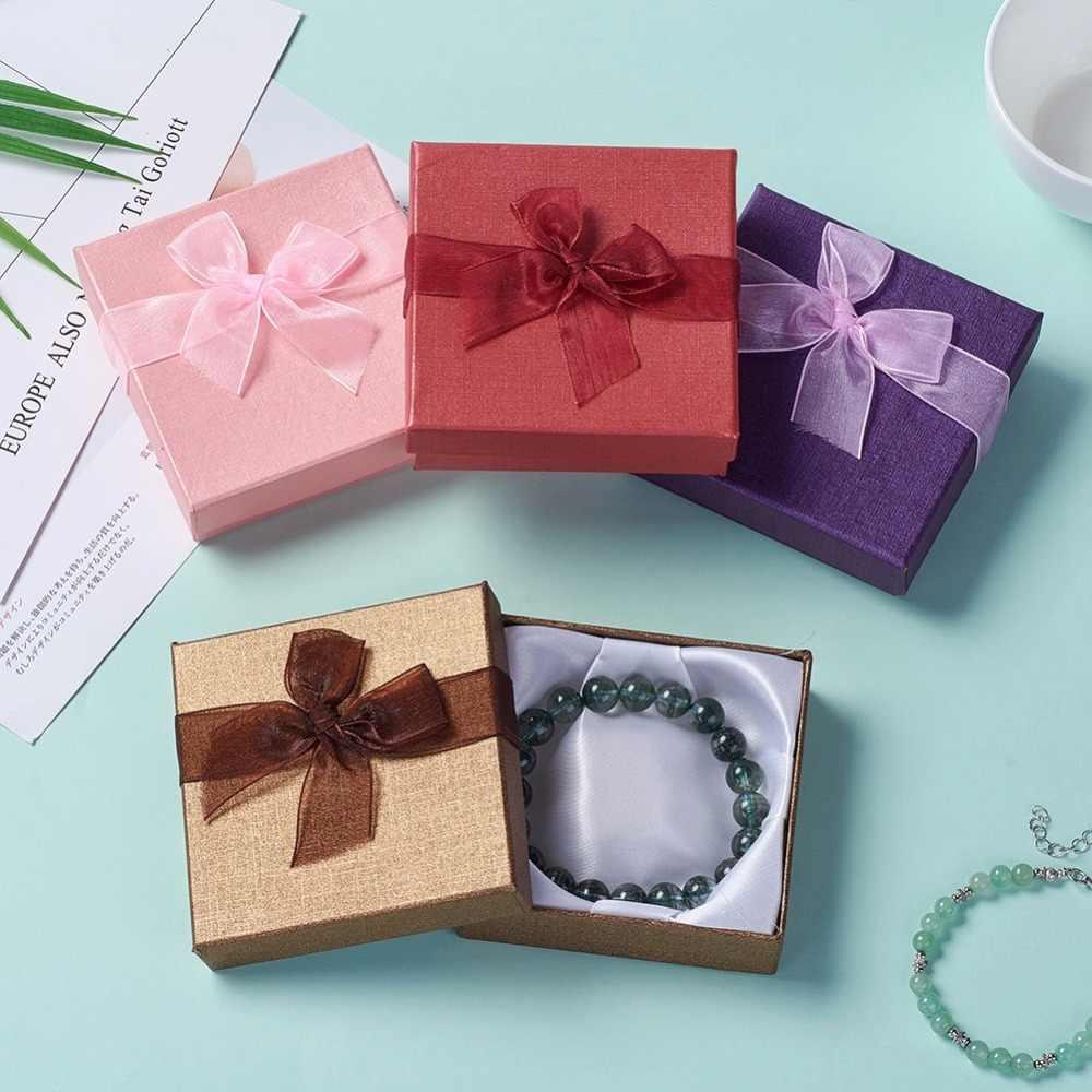 12 Stuks Sieraden Geschenkdozen Armbanden Oorbel Ring Ketting Sieraden Set Box Vierkante Ronde Verpakking Cases Display Karton Gemengde