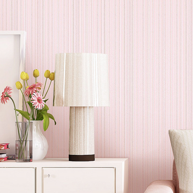 Solid Color Plain Color 3D Non-woven Wallpaper Bedroom Living Room Wall Hotel Off-white Simple Stripes Wallpaper