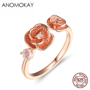 Anomokay Romantic Rose Gold Flower Open Rings for Women Mom 100% 925 Sterling Silver Floral Rings for Party Anniversity image