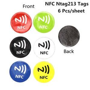 6PCS NFC Tags Stickers Anti Metal Ntag213 Adhesive Label Metallic Sticker Universal RFID Tag for NFC Mobile Phones
