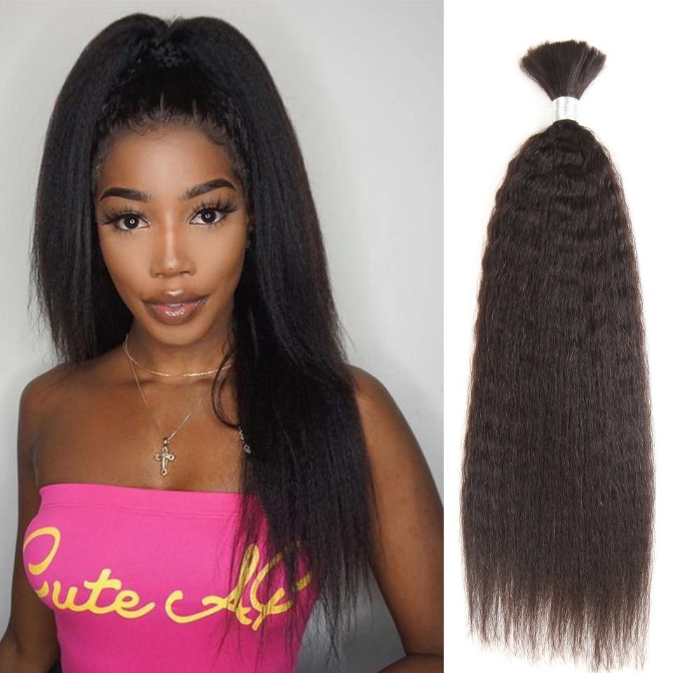 Black Pearl Pre-Colored Brazilian Hair Weave Bundles Yaki Striaght Human Hair Bulk 1 Bundle Braiding Hair Extensions Braids Hair