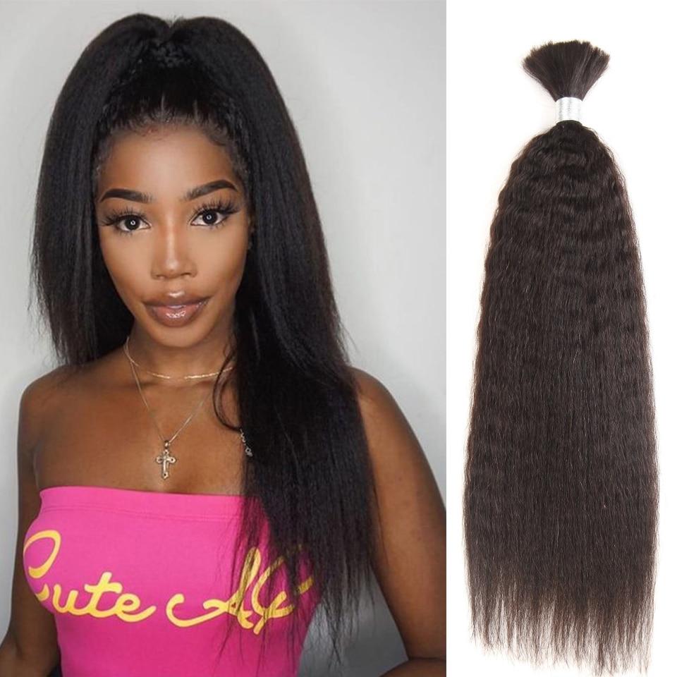 Black Pearl Pre-Colored Brazilian Hair Weave Bundles Yaki Striaght Human Hair Bulk 1 Bundle Braiding Hair Extensions Braids Hair