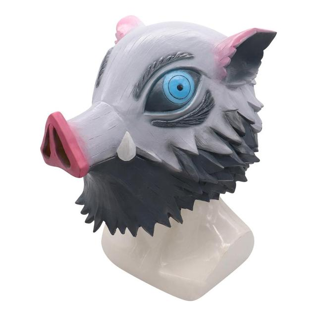 Anime Demon Slayer Kimetsu no Yaiba Hashibira Inosuke Action Figures Toy Cosplay Pig head mask Latex Mask Halloween Figurine