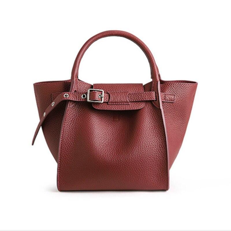 Genuine Leather Women Bag 2019 New Wing Bag With Buckle Women's Simple And Versatile One Shoulder Slant Cross Handbag
